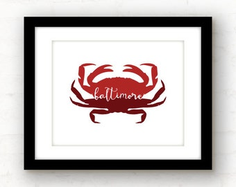Baltimore crab art | Baltimore art | Baltimore, Maryland crab | Maryland art | crab decor | nautical print | east coast home decor