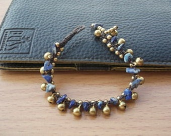 christmas gift/Jingle bells little lovely  bracelet lapis lazury nugget Thailand handmade jewelry on fall gift new collection by Nannapatt