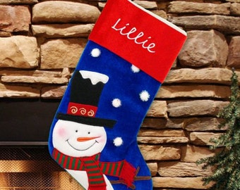 Smiling Snowman Stocking-Embroidered -gfyS75039