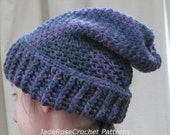 Crochet Slouchy Hat Pattern Ribbed Brim All Sizes Infant to Adult PDF408