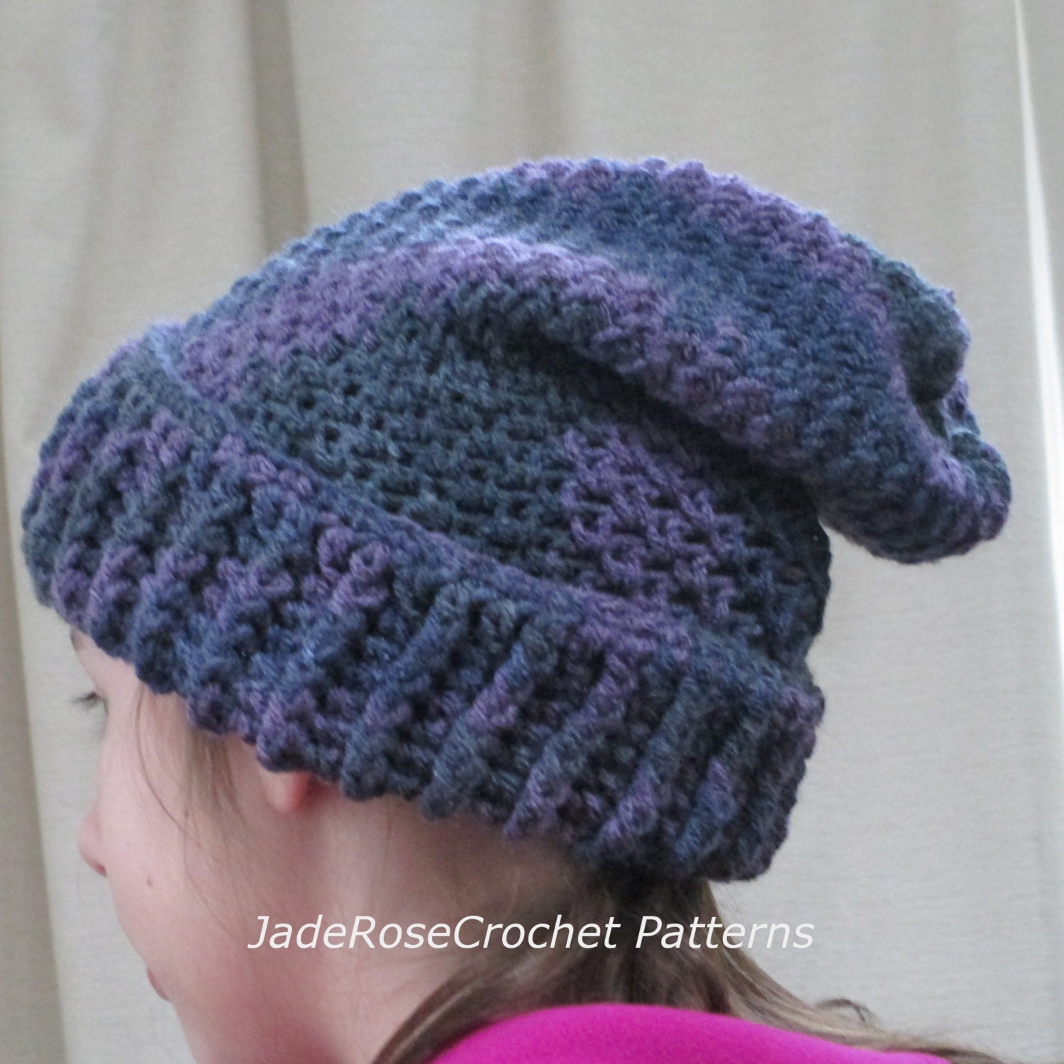 Crochet Pattern Mens Hat With Brim : Crochet Slouchy Hat Pattern Ribbed Brim All Sizes Infant to