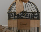 Birdcage Wedding Card Holder / Card Box / Birdcage Cardholder / Rustic Burlap Barn Wedding / Burlap Birdcage / Wedding Decoration