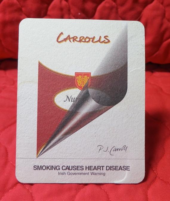 2 Vintage Beer Mats Advertising Health Warnings Of Smoking