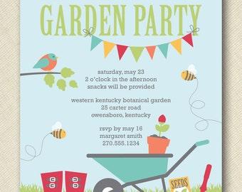 kids garden party invite PRINTABLE digital file DIY
