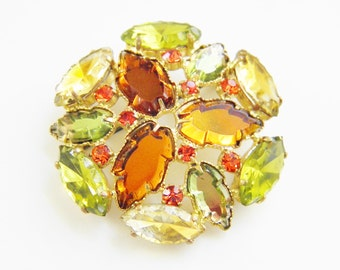 Vintage Citrine Orange Yellow  Rhinestone Brooch 1960s