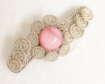 Vintage Pink Glass Moonglow Cabochon Silver Brooch 1940s
