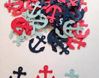Nautical Baby Shower, Red Blue Navy Anchor Confetti, Nautical Die Cut, Anchor Cut Out, Nautical Cut Out, Nautical Wedding, Nautical Confetti