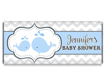 Set of 12 - Boy Baby Shower Blue Whale Candy Bar Wrappers - Whale Baby Shower Favors