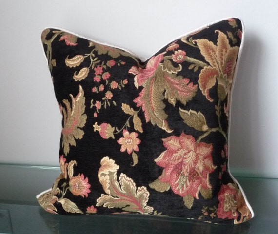 Black Floral Pillow Chenille Luxury Pillow Silk Pillows by Tanche