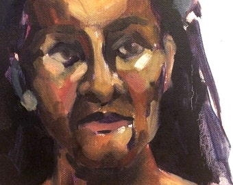 Portrait of Jean, Original Oil Painting, 8x10 Gallery Wrapped Canvas