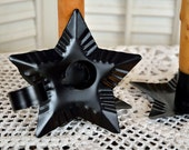 Taper Holder, Black metal star Taper Holder, Star taper holder, Black Star candle holder,