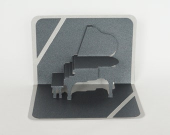 GRAND PIANO for Piano Teachers 3D Pop Up Card Home Decoration Handmade Handcut in Metallic Black and Bright Shimmery Metallic Silver OOaK