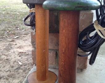 Vintage wood bobbin lamp