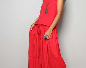 Red Maxi Dress -  Sleeveless dress : Autumn Thrills Collection No.9s   (New Arrival)