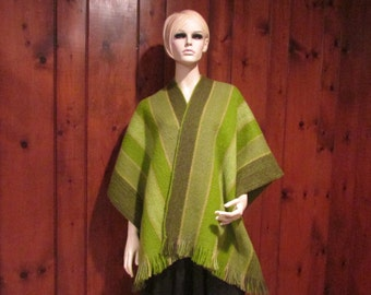 Vintage  Permanos Vibrant Green Striped Wool Poncho,  Blanket Poncho, Vintage Winter Poncho, Vintage Clothing