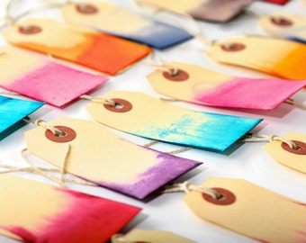 READY TO SHIP | Dip Dyed colorful gift tags. Gift embellishments for weddings, gift wrapping and scrapbooks. Rainbow Hand made tags