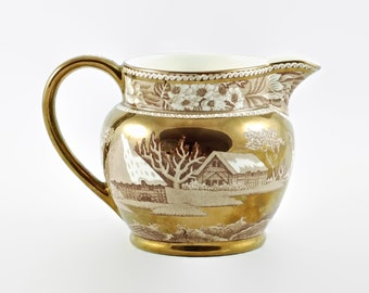 """Vintage Wedgwood """"Fallow Deer"""" Brown Transferware 16oz Pitcher with Gold Trim"""