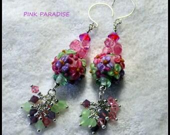 Earrings, Lampwork and Crystal Earrings,Dangle Earrings,Flower Earrings,Bead Earrings - PINK PARADISE