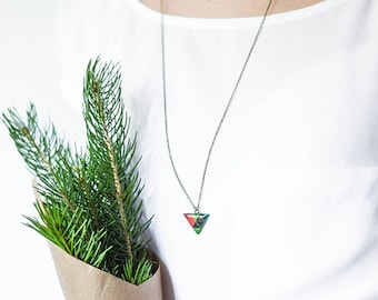 Triangle necklace geometric jewelry dark green pendant necklace