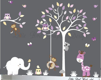 White tree nursery, wall decals kids, baby nursery wall, kids wall art, wall art children, wall decal, wall decals nursery, wall art sticker