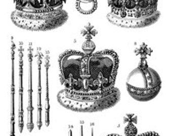 Crowns King Queen Royal - Digital Image - Vintage Art Illustration