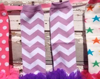 Purple Chevron boot socks leg warmers or arm warmers