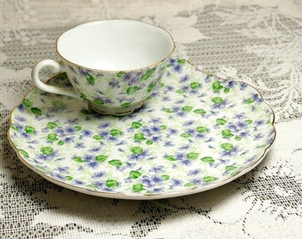 Lefton Chintz cup and saucer (snack set)