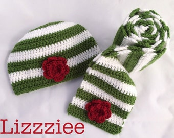 Striped Hat and Scarf Crochet PATTERN PDF file - Instructions tutorial DIY - newborn baby toddler kids teen adult - Instant Digital Download