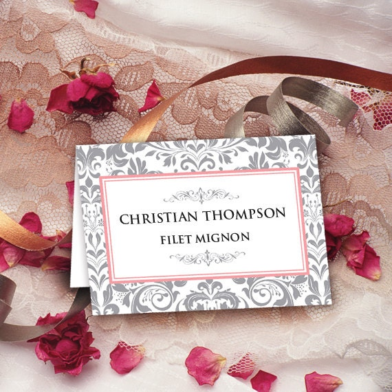 wedding table cards, silver damask table cards, instant download, editable table cards, pink and silver table cards, ID102