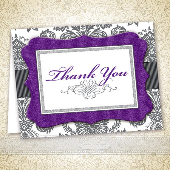 thank you cards, printable thank you cards, instant download gray damask and purple thank you cards, editable thank you cards, ID128