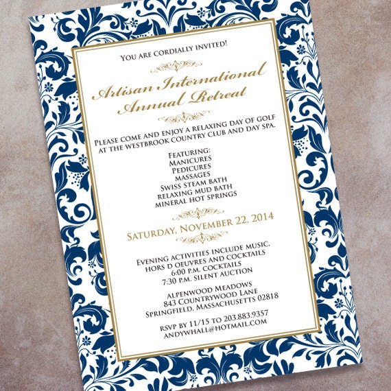 company retreat invitations, wedding invitations, navy and gold wedding invitations, bridal shower invitations, navy graduation, IN350