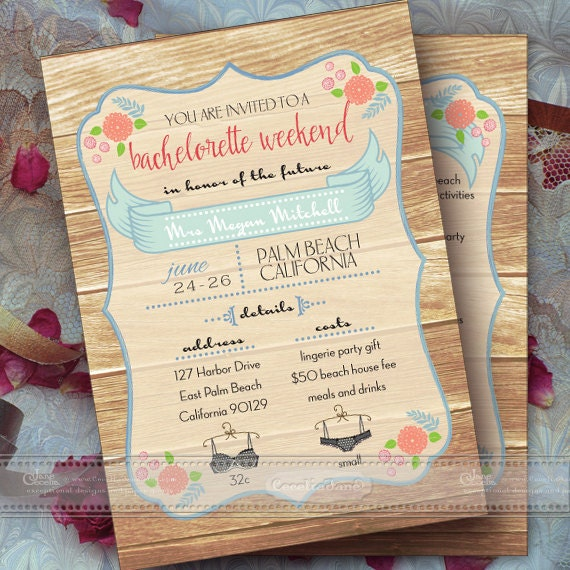 bachelorette party invitation printable, bachelorette weekend invitation, bridal shower, girls weekend, girls night out, bridal suite, IN375