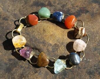 Vintage Polished Stone Bracelet Semi Precious Tumbled