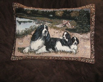 English SPRINGER SPANIEL And Pups TAPESTRY Pillow Cover Style #2