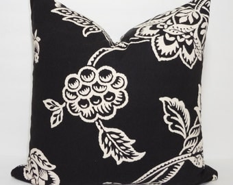 SALE Black & Tan/Ivory Floral Print Pillow Cover Decorative Throw Pillow Cover Size 16x16