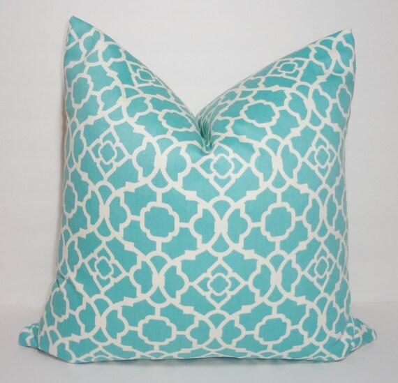 Waverly Lovely Lattice Aqua & White Geometric Pillow Cover