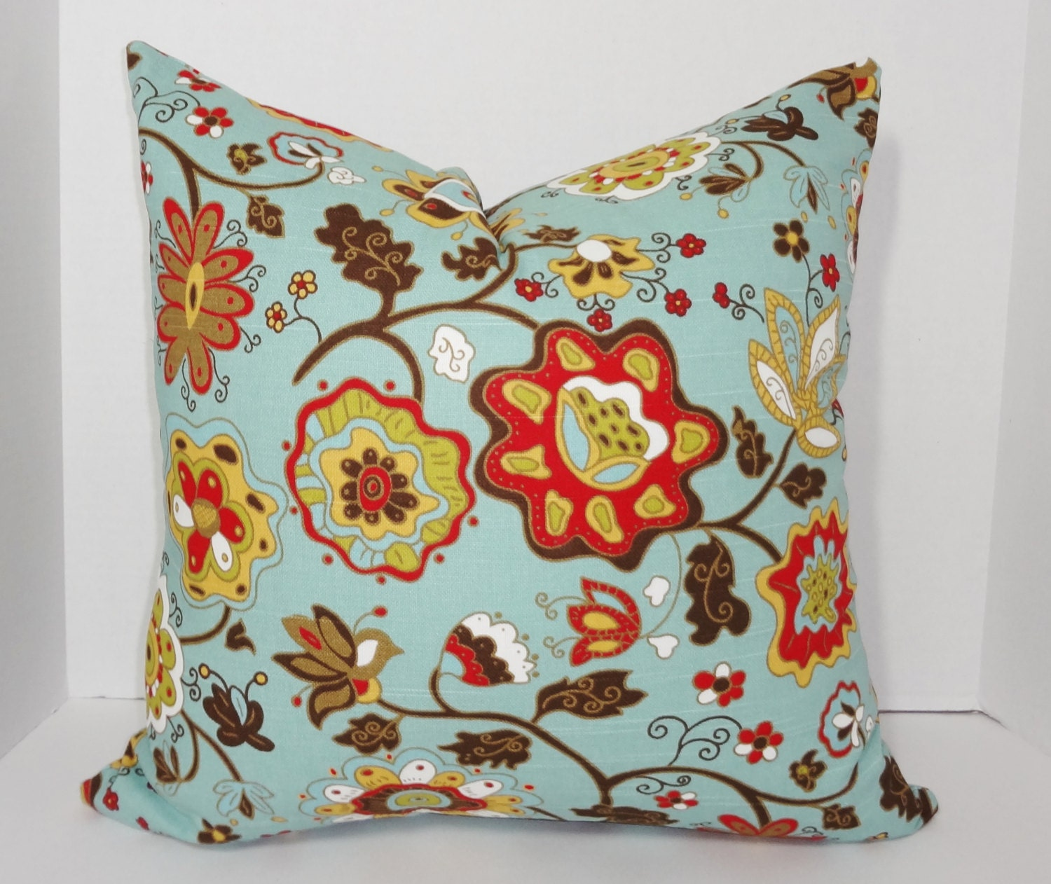 Brown Floral Throw Pillow : Decorative Blue Red Brown Floral Pillow Cover Decorative