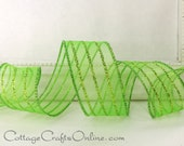 """Christmas Wired Ribbon, 1 1/2""""  Wide, Lime Green Glittered  Striped Sheer, THREE YARDS - St. Patrick, Craft, Decor Wire Edge Ribbon"""