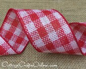 "CLEARANCE! Wired Ribbon, 4"" , Red and White Burlap Check - THREE YARDS - d stevens, Natural Jute, Christmas, July 4th Wire Edged Ribbon"