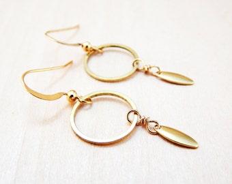 Simple gold hoop dangle earrings // small gold circle earrings // raw brass minimalist earrings