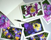 Passionate Purple Flowers Note Cards - Set of 4 - Spring, Photo Art Cards,  Birthday, Blank
