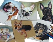 "Unique Pet Portraits - Miniature Sketches in Color Pencil on Earth Tone Paper -  4"" x 6"" or 5""x 5"" - Personal Gift for Pet Lovers"