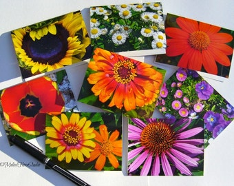 Blazing Autumnal Flower Mini Note Cards, Gift Tags,  Place Holders - Set of 8 - Fall Holidays and Celebrations