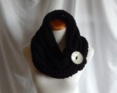 Cowl Chunky Bulky Button Crochet Cowl: Black with Ceramic Glazed Button