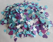 Over 2000 Mini Confetti Hearts. Shades of Purple, Turquoise, & Teal Blue. Weddings, Showers, Decorations. ANY COLOR Available.
