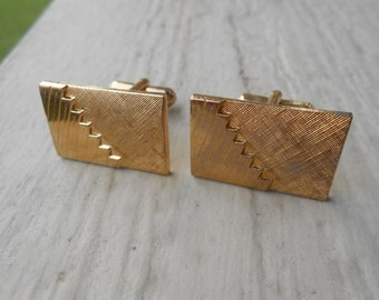 Vintage Gold Art Deco Cufflinks. Wedding, Men's Christmas Gift, Dad.