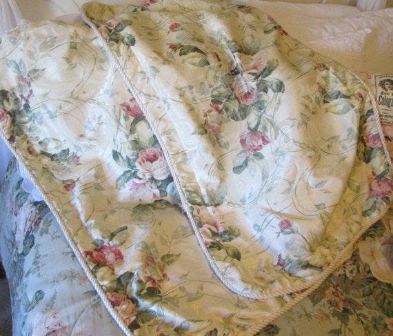 Shabby pillow shams Burlington pink rose pillow shams cream