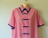 80s Blouse Shirt Top / Nautical Striped HIPSTER Sailor Button Down French Silky Spring Colorful / Red White Blue / M L