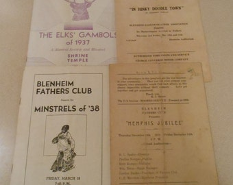 Minstrel Program Bleneim School Kansas City Missouri Elk's Club Shriner 1930
