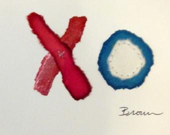 Valentine card, colorful Valentine, handmade card, original art, FREE SHIPPING in U.S.